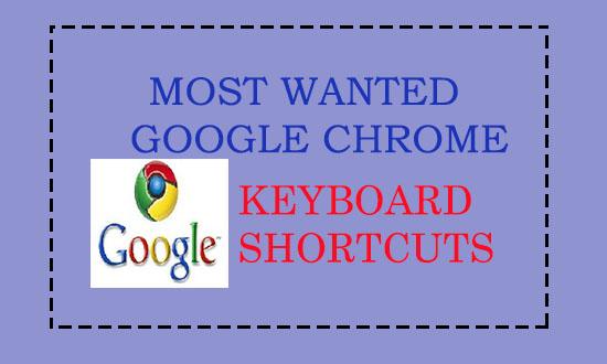 Google Chrome keyboard shortcuts