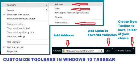 customize toolbars in windows 10 taskbar