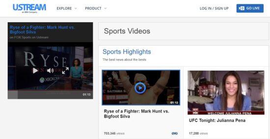 ustream live sports streaming