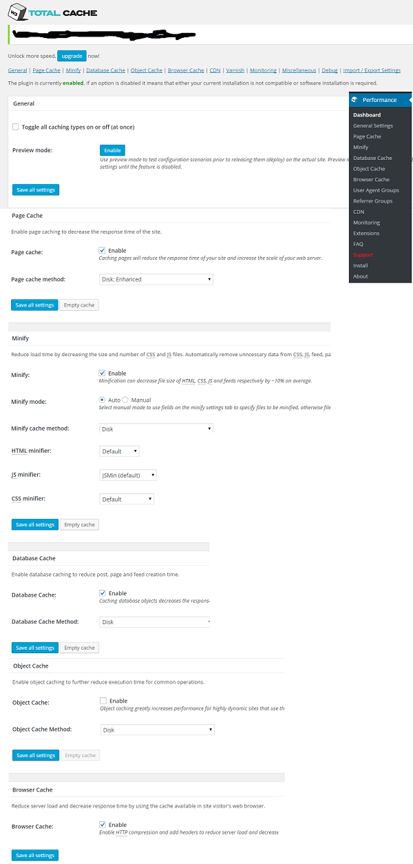 w3 total cache general settings