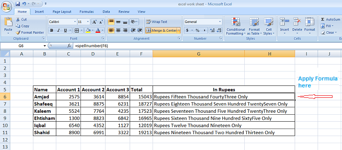 microsoft excel amount in words