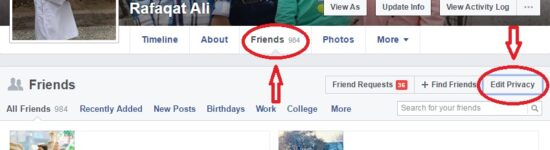 Hide Facebook Friends List from Others