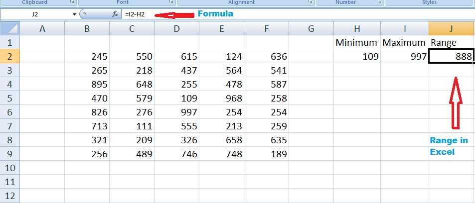 Range In Excel ~ How to calculate range in excel of numbers using