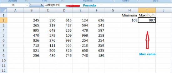 Find range in excel using Max function
