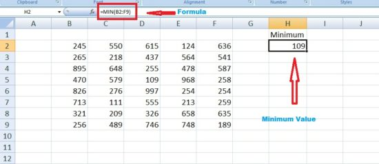 calculate range in excel using min function