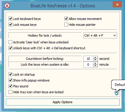 bluelife keyfreeze lock keyboard and mouse option