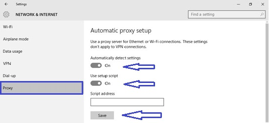 set up a proxy server in windows 10