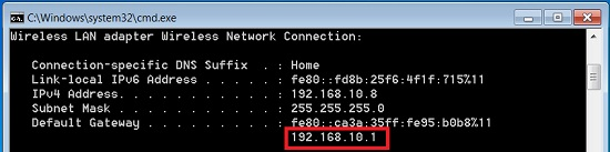 find ip address of router using command prompt