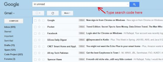 search all unread gmail messages