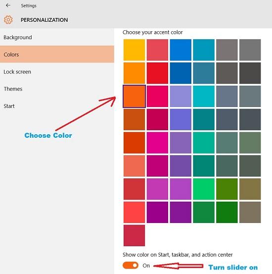 Change color of Windows 10 start menu