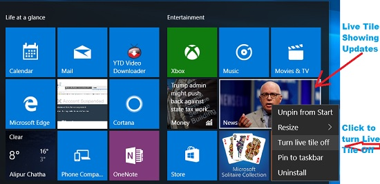 Turn Live Tile Off in windows 10 start menu