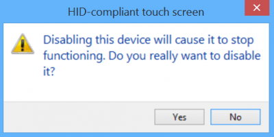 disable hid compliant touch screen confirmation windows