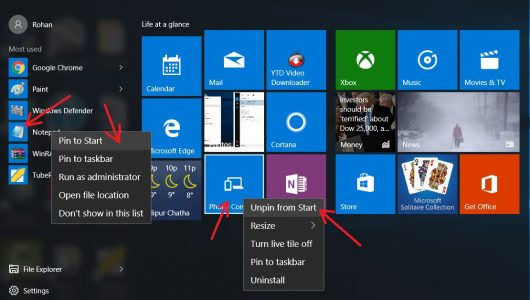 pin and unpin application to the windows 10 start menu