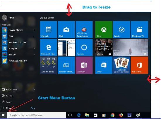 resize the menu in windows 10