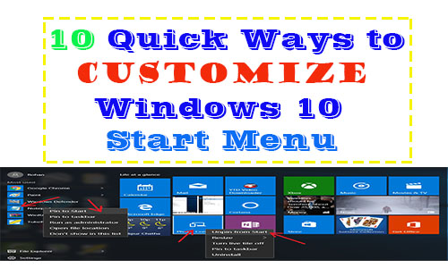 ways to customize windows 10 start menu