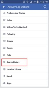 facebook activity log page smartphone
