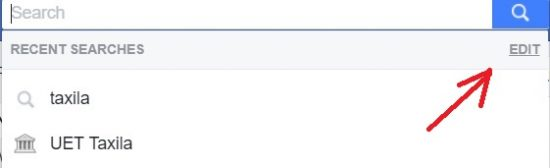 facebook recent searches