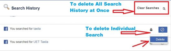facebook search history page