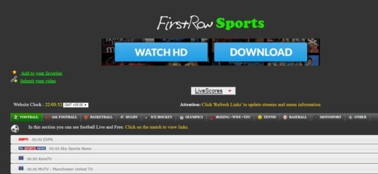 First Row Sports free sports channel