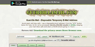 Guerrila mail dispodable address