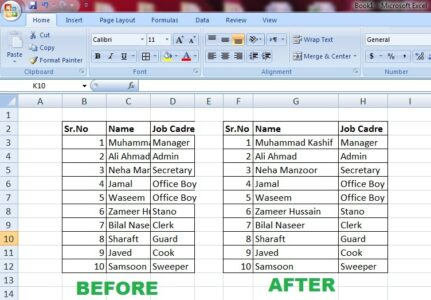autofit column width in excel before and after