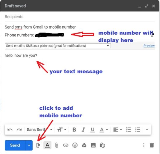 send sms from Gmail to Mobile Number