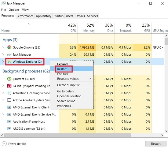 Restart Windows Explorer to fix windows 10 taskbar