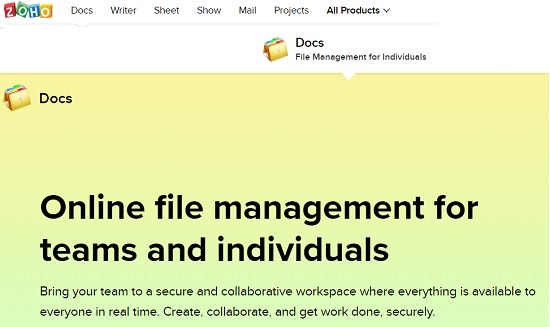 zoho docs online file management software