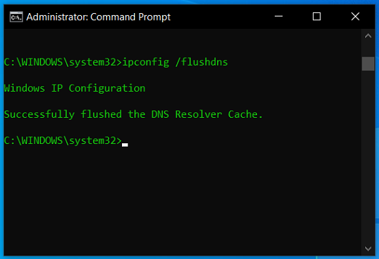 flushed the DNS Resolver Cache