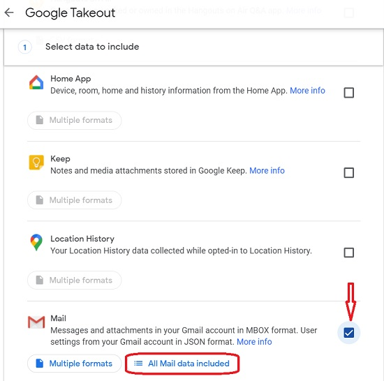 Google Takeout to select Gmail data to include