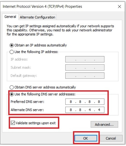 Change IPv4 DNS Address to fix site chrome error