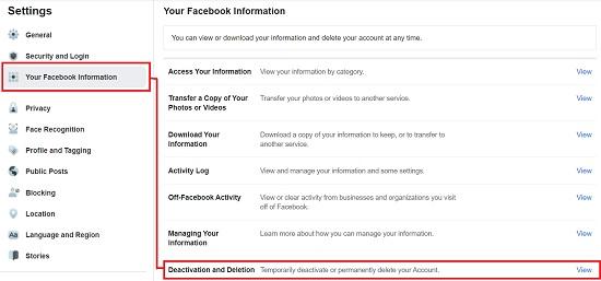 deactivate a Facebook account